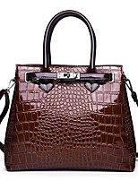 cheap -Women's Polyester / PU Top Handle Bag Crocodile Red / Brown / Black
