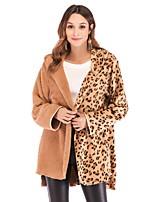 Недорогие -Жен. Повседневные Зима Обычная Пальто, Леопард / Контрастных цветов Капюшон Длинный рукав Полиэстер Верблюжий