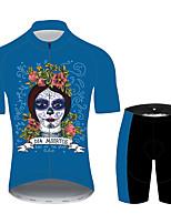 Недорогие -21Grams Сахарный череп Жен. С короткими рукавами Велокофты и велошорты - Черный / синий Велоспорт Наборы одежды Дышащий Влагоотводящие Быстровысыхающий Виды спорта 100% полиэстер Горные велосипеды