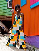 Недорогие -Жен. Уличный стиль Цвет радуги Комбинезоны, Контрастных цветов S M L