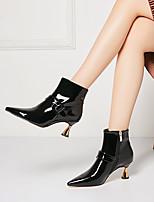 Недорогие -Жен. Ботинки На каблуке-рюмочке Заостренный носок Лакированная кожа Зима Черный / Светло-красный