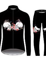 Недорогие -21Grams Сахарный череп Жен. Длинный рукав Велокофты и лосины - Черный / Белый Велоспорт Наборы одежды С защитой от ветра Устойчивость к УФ Дышащий Виды спорта 100% полиэстер Горные велосипеды Одежда