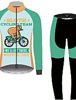 Недорогие -21Grams Животное леность Муж. Длинный рукав Велокофты и лосины - Черный / зеленый Велоспорт Наборы одежды Устойчивость к УФ Дышащий Влагоотводящие Виды спорта 100% полиэстер Горные велосипеды Одежда