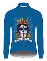 Недорогие -21Grams Сахарный череп Муж. Длинный рукав Велокофты - Синий Велоспорт Джерси Верхняя часть Устойчивость к УФ Дышащий Влагоотводящие Виды спорта 100% полиэстер Горные велосипеды Шоссейные велосипеды