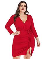 Недорогие -Жен. Классический Облегающий силуэт Оболочка Платье - Однотонный, С разрезами Шнуровка Мини