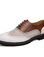 cheap -Men's Formal Shoes PU Spring & Summer / Fall & Winter Casual / British Oxfords Color Block Black / White / Party & Evening