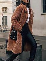Недорогие -Жен. Повседневные Классический Большие размеры Длинная Пальто, Однотонный Отложной Длинный рукав Полиэстер Красный / Верблюжий