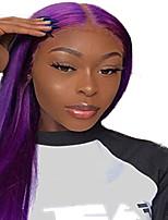 Недорогие -Синтетические кружевные передние парики Прямой Стиль Средняя часть Лента спереди Парик Фиолетовый Искусственные волосы 18-26 дюймовый Жен. Регулируется Жаропрочная Для вечеринок Фиолетовый Парик / Да