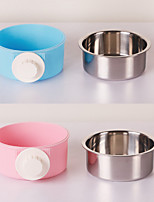 Недорогие -Собаки Кролики Коты Миски и бутылки с водой / Кормушки 0.25 L пластик ABS + PC Влажная чистка Простота установки На каждый день Однотонный Синий Розовый Чаши и откорма