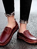 cheap -Men's Spring / Fall Vintage Daily Loafers & Slip-Ons Walking Shoes Cowhide Wear Proof Wine / Dark Brown / Black