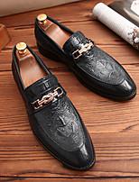 Недорогие -Муж. Официальная обувь Кожа Весна лето / Наступила зима Английский Мокасины и Свитер Нескользкий Черный / Синий