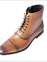 Недорогие -Муж. Армейские ботинки Полиуретан Наступила зима Ботинки Дышащий Ботинки Черный / Темно-коричневый / Желтый / Квадратный носок