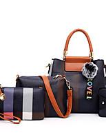 cheap -Women's Zipper / Pom-pom PU Bag Set Color Block 4 Pieces Purse Set Black / Brown / Blushing Pink