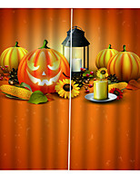 Недорогие -3d digtal печать затемнения оконные шторы на заказ готовые для гостиной / спальни хэллоуин их тыквы фонари фон занавес