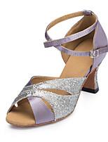 Недорогие -Жен. Танцевальная обувь Сатин Обувь для латины Планка На каблуках Кубинский каблук Персонализируемая Лиловый / Выступление