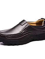 Недорогие -Муж. Кожаные ботинки Наппа Leather Лето / Осень Деловые / На каждый день Мокасины и Свитер Нескользкий Черный / Коричневый