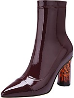 Недорогие -Жен. Ботинки На толстом каблуке Заостренный носок Лакированная кожа Зима Черный / Винный / Миндальный