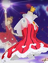 Недорогие -Вдохновлен Сакура Косплей Аниме Косплэй костюмы Японский Косплей Костюмы Платье / Воротник / Воротник-шаль Назначение Жен.