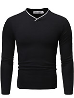 cheap -Men's Daily Basic Polo - Color Block / Solid Colored Black
