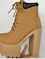 Недорогие -Жен. Ботинки На толстом каблуке Круглый носок Кожа Ботинки Наступила зима Черный / Белый / Желтый