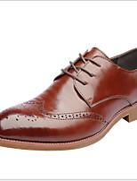 Недорогие -Муж. Комфортная обувь Кожа Лето Туфли на шнуровке Дышащий Черный / Коричневый