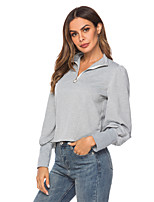 cheap -Women's Casual Sweatshirt - Solid Colored Gray S