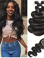 Недорогие -3 комплекта с закрытием Перуанские волосы Естественные кудри Не подвергавшиеся окрашиванию Необработанные натуральные волосы Человека ткет Волосы Пучок волос One Pack Solution 8-20 дюймовый