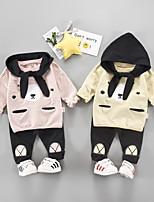 Недорогие -Дети (1-4 лет) Мальчики Классический Мультипликация С принтом С короткими рукавами Обычный Обычная Набор одежды Черный