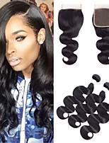 Недорогие -3 комплекта с закрытием Бразильские волосы Естественные кудри Не подвергавшиеся окрашиванию Необработанные натуральные волосы Человека ткет Волосы Пучок волос One Pack Solution 8-20 дюймовый