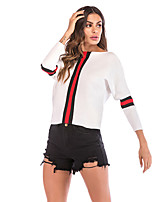 cheap -Women's Basic Knitted Striped Pullover Long Sleeve Sweater Cardigans Crew Neck Round Neck Fall Winter White Black Red