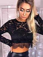 Недорогие -Жен. Кружева Блуза Классический Однотонный Черный