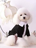 Недорогие -Собаки смокинг Одежда для собак Контрастных цветов Черный Полиэстер Костюм Назначение Весна & осень Женский Свадьба