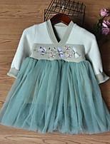 Недорогие -Дети Девочки Контрастных цветов Платье Светло-синий
