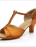 Недорогие -Жен. Танцевальная обувь Полиуретан Обувь для латины На каблуках Кубинский каблук Черный / Темно-коричневый / Золотой