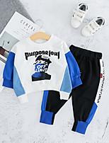 Недорогие -малыш Мальчики Классический / Уличный стиль Синий и белый С принтом Пэчворк / С принтом Длинный рукав Обычный Обычная Набор одежды Синий