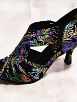 Недорогие -Жен. Танцевальная обувь ПВХ Обувь для латины Кристаллы / Crystal / Rhinestone На каблуках Кубинский каблук Персонализируемая Зеленый  / желтый
