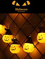 Недорогие -2 м гирлянды тыквенные гирлянды хэллоуин украшения огни с 10 светодиодные бусы на открытом воздухе праздничное освещение гирлянды украшения аа с питанием от батареи 1 шт.