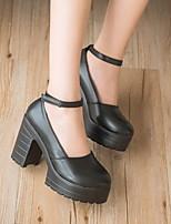 Недорогие -Жен. Обувь на каблуках На толстом каблуке Круглый носок Полиуретан Лето Черный / Белый