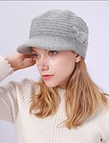 Недорогие -Жен. Классический Широкополая шляпа Акрил,Однотонный Зима Черный Винный Пурпурный