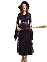 Недорогие -ведьма Косплэй Kостюмы Инвентарь Взрослые Жен. Косплей Хэллоуин Хэллоуин Фестиваль / праздник Полиэстер Лиловый Жен. Карнавальные костюмы / Платье / Пояс / Шапки