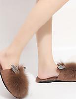 Недорогие -Женские тапочки / Тапочки для девочек Тапочки для гостей / Домашние тапки На каждый день Лисий Мех Один цвет Обувь