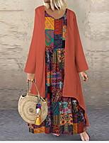 Недорогие -Жен. Классический С летящей юбкой Платье - Геометрический принт, С принтом Макси