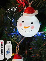 Недорогие -3-метровые гирлянды 20 светодиодов 1 13-клавишный пульт дистанционного управления теплый белый / рождественский шнур снеговика / рождественские украшения огни / вечеринка / декоративные / свадьба 8