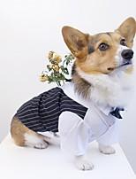 Недорогие -Собаки Инвентарь Футболки Одежда для собак Полоски Черный Полиэстер Костюм Назначение Лето Свадьба
