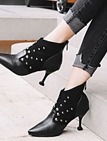 cheap -Women's Boots Stiletto Heel Pointed Toe Booties Ankle Boots Classic Daily Walking Shoes PU Beading Color Block Black Brown / Booties / Ankle Boots / Booties / Ankle Boots