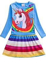 Недорогие -Дети Девочки Симпатичные Стиль Мультипликация Платье Светло-синий