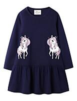 Недорогие -Дети Девочки Симпатичные Стиль Животное Платье Темно синий