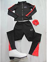 Недорогие -Куртка и штаны для фигурного катания Жен. Девочки Катание на коньках Жакет Брюки Черный / красный Оранжевый Синий Эластичная Учебный Соревнование Одежда для фигурного катания Классика Фигурное катание