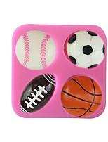 Недорогие -4 полости футбол баскетбол теннис форма силиконовые формы помадка украшения торта кухня испечь инструменты