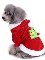 Недорогие -Собаки Инвентарь Одежда для собак Геометрический принт Желтый Зеленый Красный Полиэстер Костюм Назначение Зима Праздник Рождество